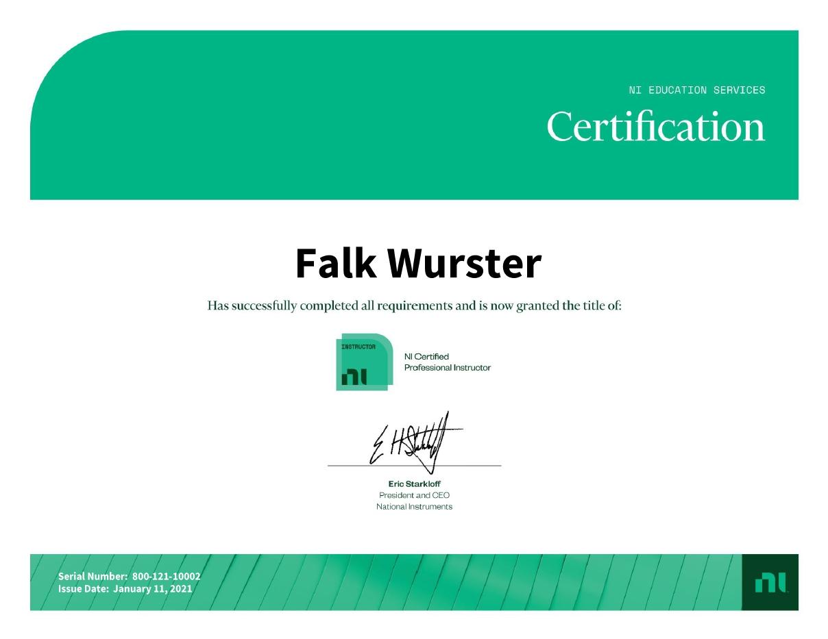 NI CPI Zertifikat Falk Wurster